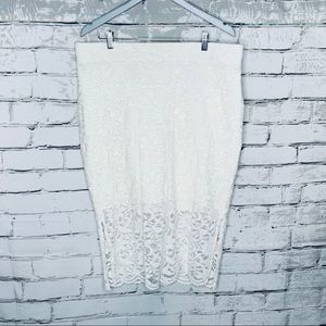 Torrid Ivory Stretch Lace Pencil Skirt